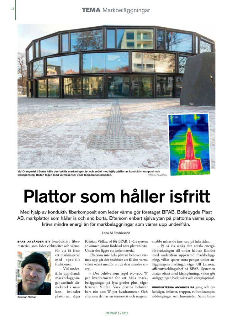 Conficomp uppvärmda markplattor uppmärksammas i Tidningen Utemiljös temanummer om markbeläggningar. Sida 1.